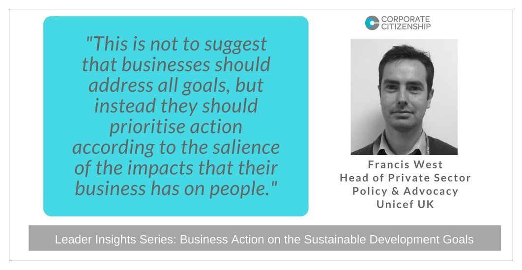 Francis West Business Action on the SDGs Twitter