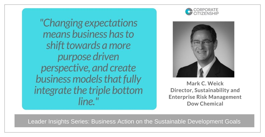 Mark C Weick Business Action on the SDGs
